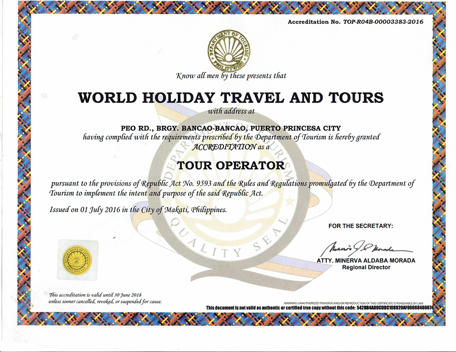 dot accreditation-world holiday travel and tours